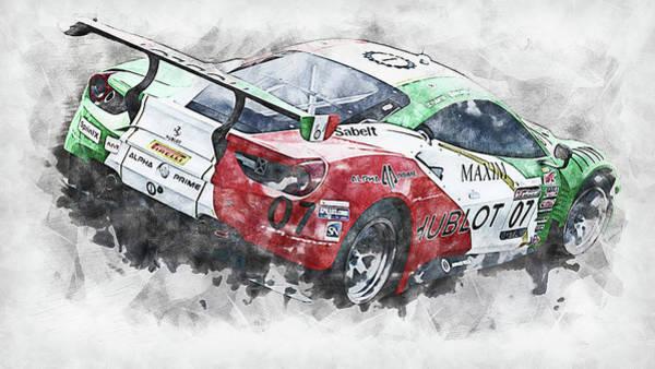 Painting - Ferrari 488 Gt3 Squadra Corse Garage Italia - 06 by Andrea Mazzocchetti