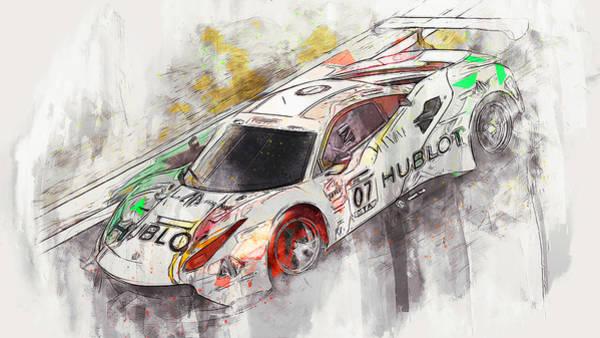 Painting - Ferrari 488 Gt3 Squadra Corse Garage Italia - 07 by Andrea Mazzocchetti