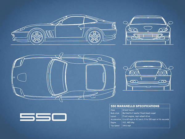 Super Cars Photograph - Ferrari 550 Blueprint by Mark Rogan