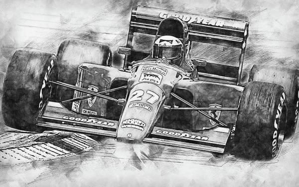 Painting - Ferrari 642 F1 - 02 by Andrea Mazzocchetti