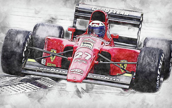 Painting - Ferrari 642 F1 - 03 by Andrea Mazzocchetti