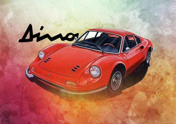 1972 Mixed Media - Ferrari Dino 246 by Simon Read