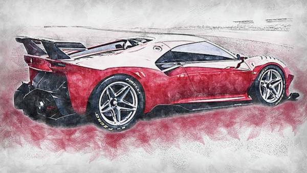 Painting - Ferrari P80c - 01 by Andrea Mazzocchetti