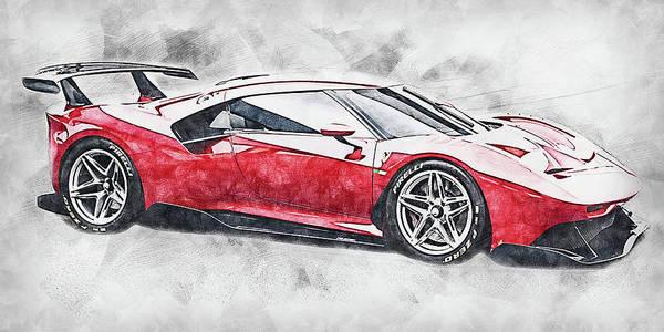 Painting - Ferrari P80c - 02 by Andrea Mazzocchetti
