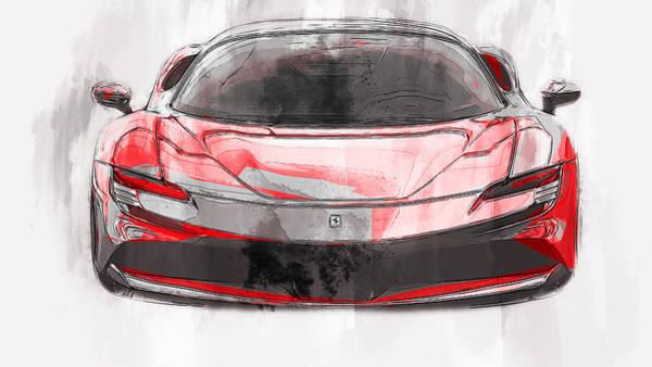 Painting - Ferrari Sf90 Stradale - 01 by Andrea Mazzocchetti