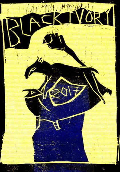 Digital Art - Ferret Black Ivory Woodcut Poster 19 by Artist Dot