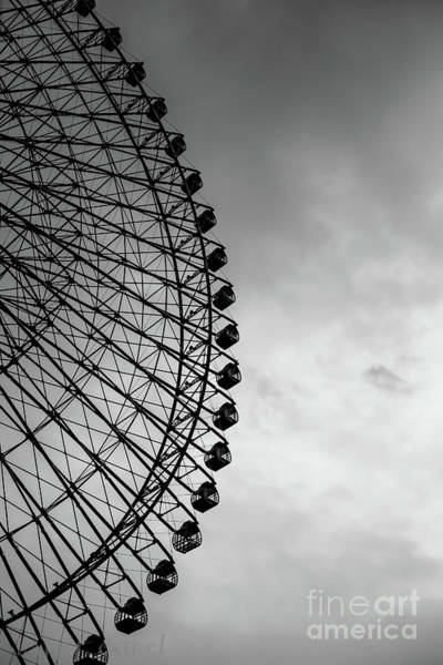 Wall Art - Photograph - Ferris Wheel Against Sky In Grayscale by Happy Camel