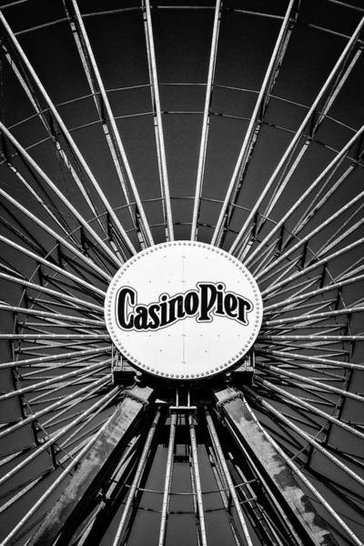 Photograph - Ferris Wheel Casino Pier  Bw by Susan Candelario