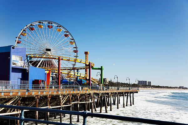Wall Art - Photograph - Ferris Wheel On Santa Monica Pier, Los by Jo Ann Snover