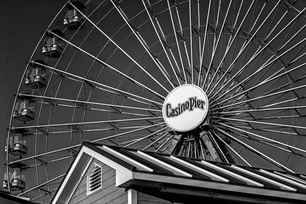 Photograph - Ferris Wheel Seaside Boardwalk Bw by Susan Candelario