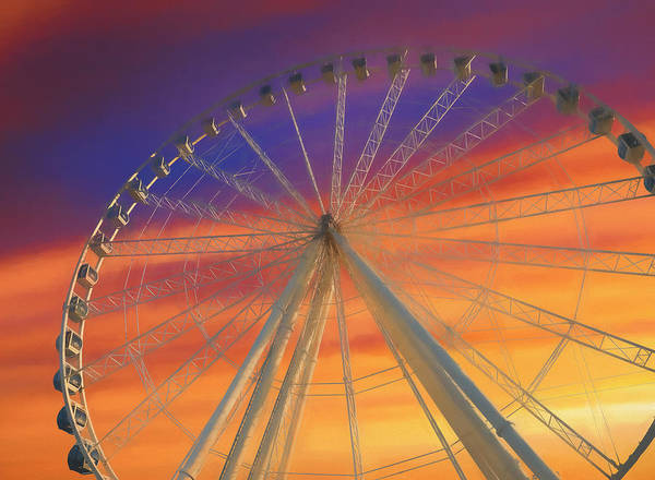 Wall Art - Mixed Media - Ferris Wheel Sunset Sky by Dan Sproul