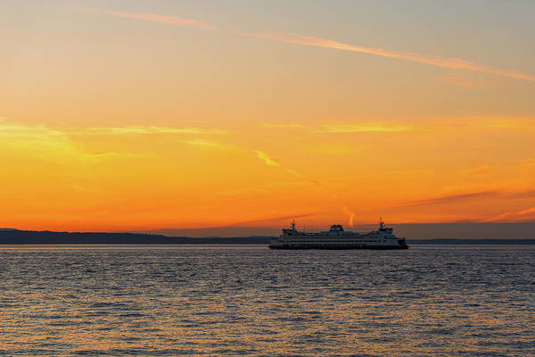 Digital Art - Ferry At Puget Sound by Michael Lee
