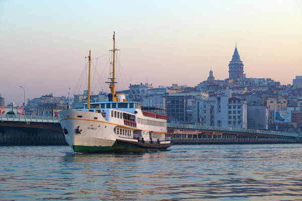 Galata Photograph - Ferry Boat In Golden Horn With Galata by Neil Farrin / Robertharding