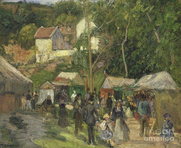 Wall Art - Painting - Festival At L Hermitage by Camille Pissarro