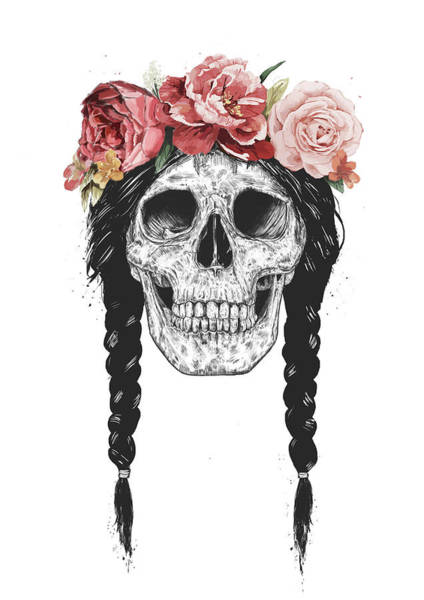 Summer Drawing - Festival Skull by Balazs Solti