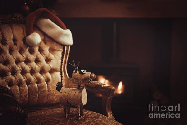 Fire House Photograph - Festive Christmas By Roaring Log Fire by Amanda Elwell