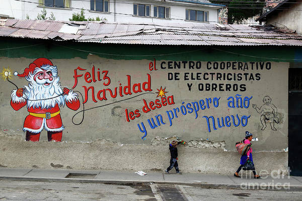 Photograph - Festive Father Christmas Mural by James Brunker