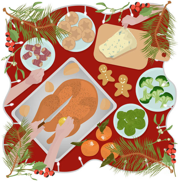 Turkey Digital Art - Festive Food by Claire Huntley