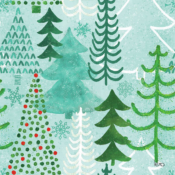 Wall Art - Painting - Festive Forest Pattern V by Veronique Charron