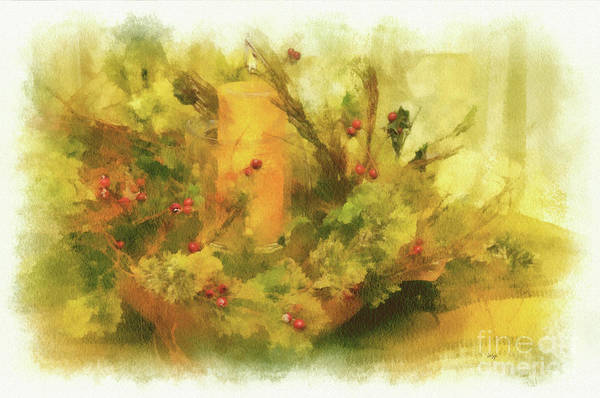 Digital Art - Festive Holiday Candle by Lois Bryan
