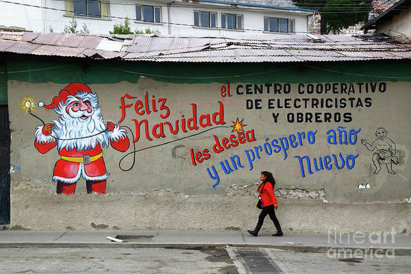 Photograph - Festive Santa Claus Mural by James Brunker