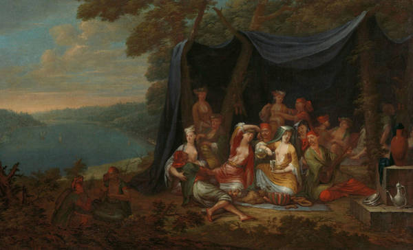 Painting - Festive Turkish Courtiers In Front Of A Tent by Jean Baptiste Vanmour