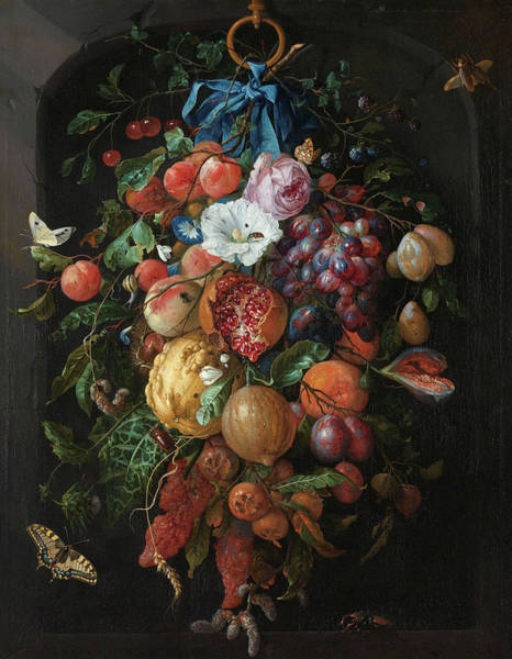 Pomegranates Painting - Festoon Of Fruit And Flowers, 1670 by Jan Davidsz de Heem