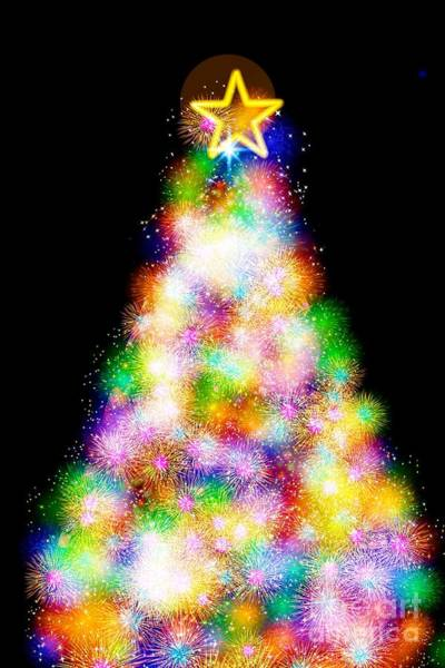 Digital Art - Fiber Optic Christmas Tree by Rachel Hannah