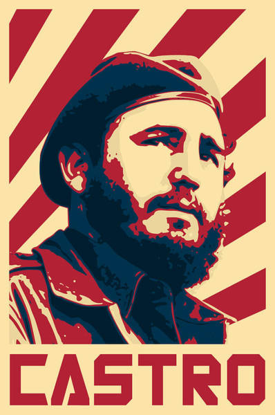 Wall Art - Digital Art - Fidel Castro Retro Propaganda by Filip Hellman