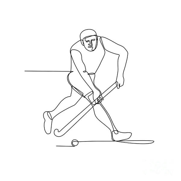 Wall Art - Digital Art - Field Hockey Player Continuous Line by Aloysius Patrimonio