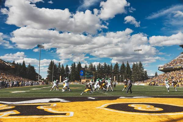 Laramie Photograph - Field Level Action - University Of Wyoming Football by Mountain Dreams
