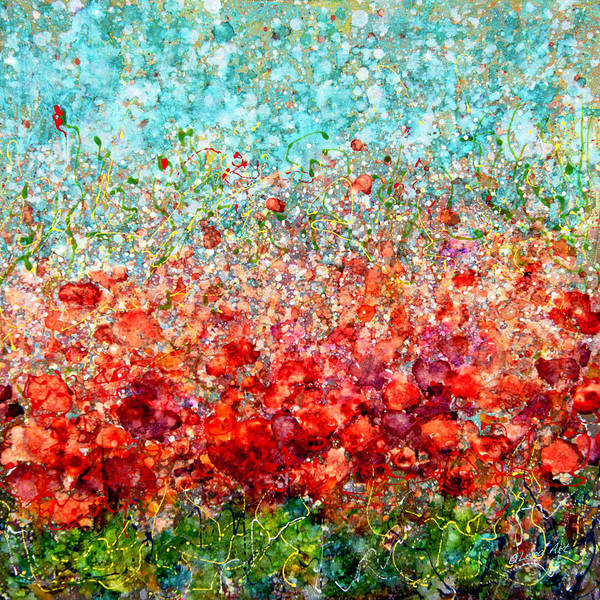 Photograph - Field Of Spring Poppies By Olena Art  by OLena Art - Lena Owens