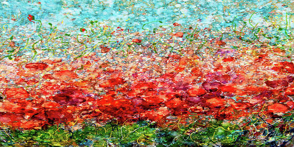 Photograph - Field Of Spring Poppies Panorama by OLena Art - Lena Owens