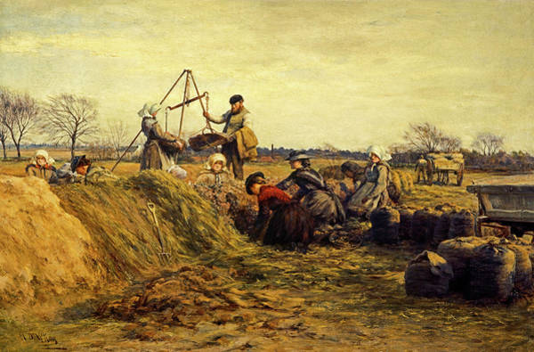 Potato Painting - Field Working In Spring by William Darling McKay