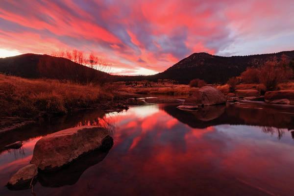 Wall Art - Photograph - Fiery Autumn Sunset Reflection by Mike Herron