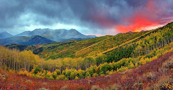 Photograph - Fiery Fall Panorama by Johnny Adolphson