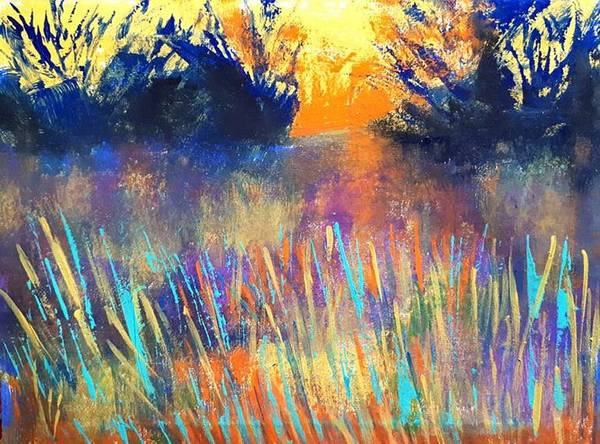 Painting - Fiery Marsh by Nikki Dalton