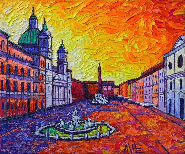Painting - Fiery Navona Rome Italy Modern Impressionist Textural Impasto Knife Oil Painting Ana Maria Edulescu by Ana Maria Edulescu