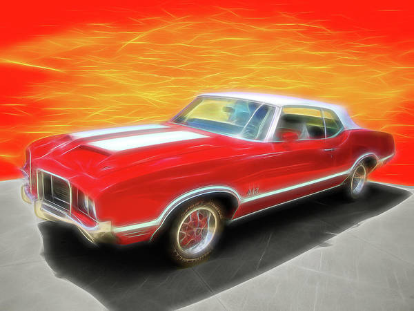 Digital Art - Fiery Olds 442. by Rick Wicker