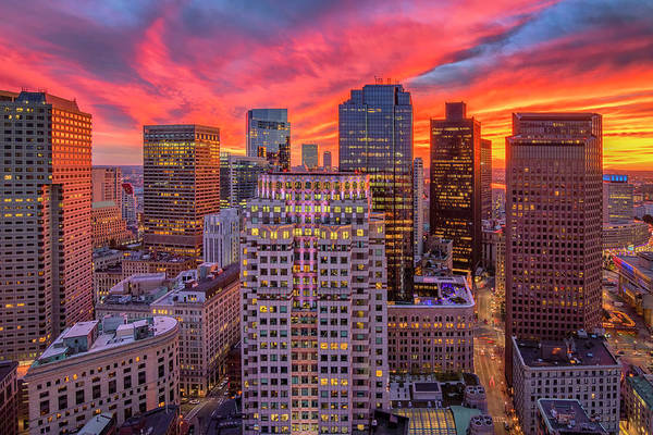 Photograph - Fiery Sunset Over Boston by Kristen Wilkinson