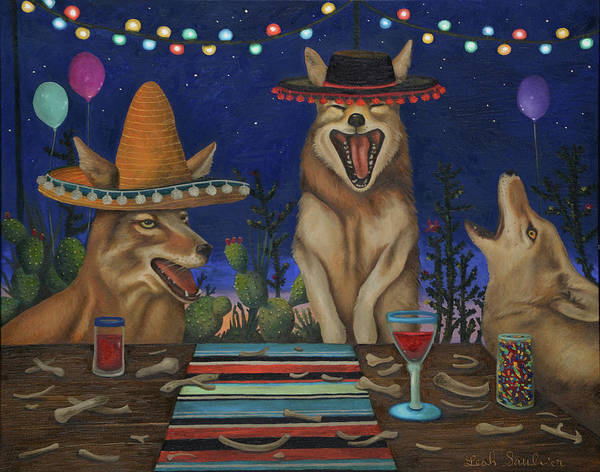 Painting - Fiesta De Los Coyote's by Leah Saulnier The Painting Maniac
