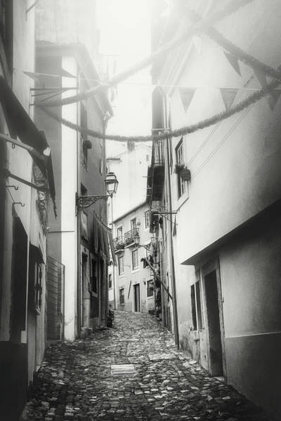 Wall Art - Photograph - Fiesta Time Historic Alfama Lisbon Black And White by Carol Japp