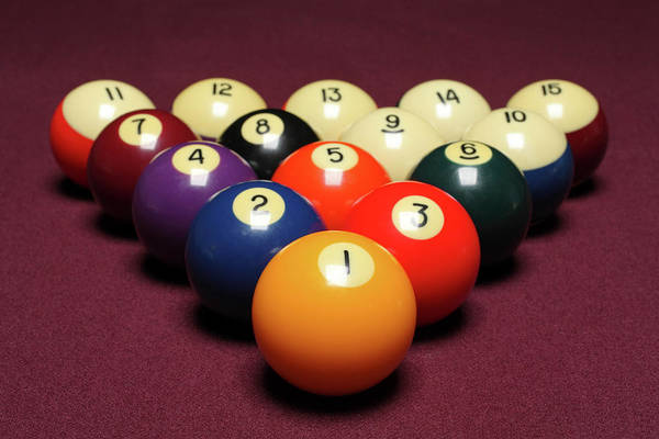 Pool Table Photograph - Fifteen Billiard Balls Arranged In by Nathan Allred