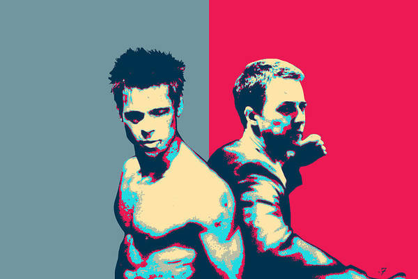 Brad Pitt Digital Art - Fight Club Revisited - Tyler Durden And The Narrator Back To Back by Serge Averbukh