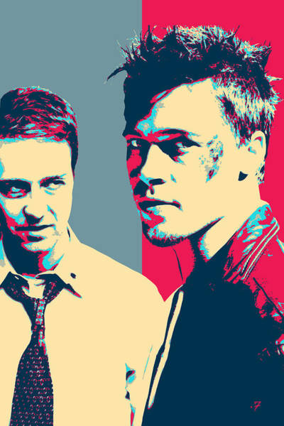 Brad Pitt Digital Art - Fight Club Revisited - Tyler Durden And The Narrator by Serge Averbukh