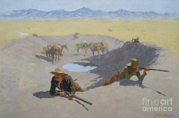 Wall Art - Painting - Fight For The Waterhole, 1903 by Frederic Remington