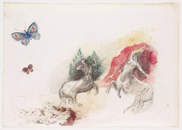 Wall Art - Painting - Fight Of The Centaurs by Odilon Redon