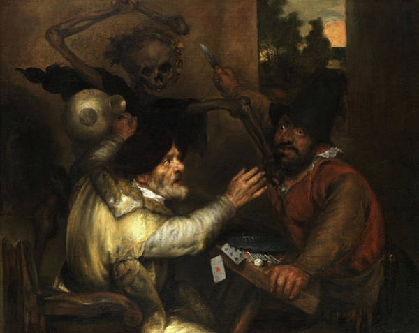 Wall Art - Painting - Fighting Card Players And Death by Jan Lievens