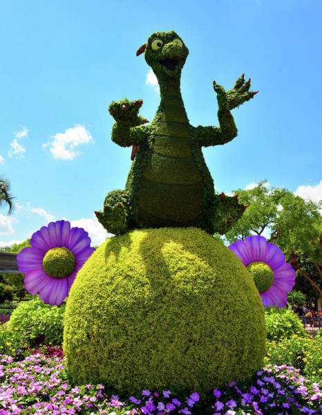 Epcot Center Wall Art - Photograph - Figment And Flowers by David Lee Thompson