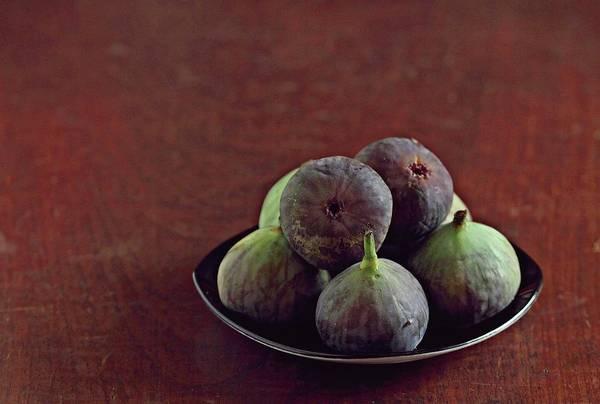 Wood Photograph - Figs On Plate by Aparna Balasubramanian